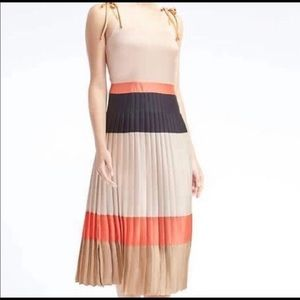 banana republic color block pleated midi dress